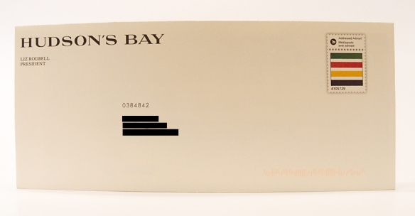 Unaddressed admail letter from Hudson's Bay
