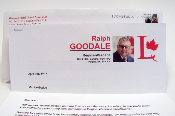 A very welcome letter from Ralph Goodale, a mentor early in my working life.