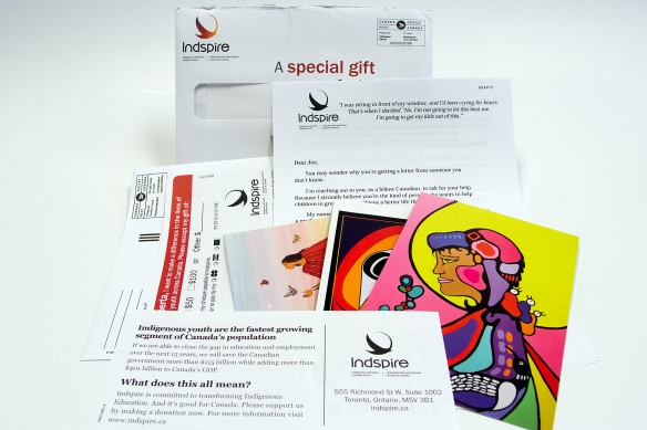 Indspire fundraising package: 4-page letter, buckslip, gift, reply form and postage-paid reply envelope