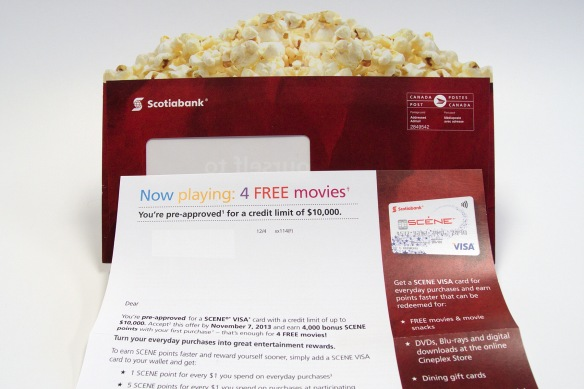 Scotiabank popcorn themed envelope and letter
